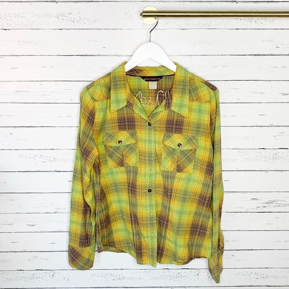 Horny Toad Tops - Horny Toad Neon Plaid Flannel Button Down Shirt